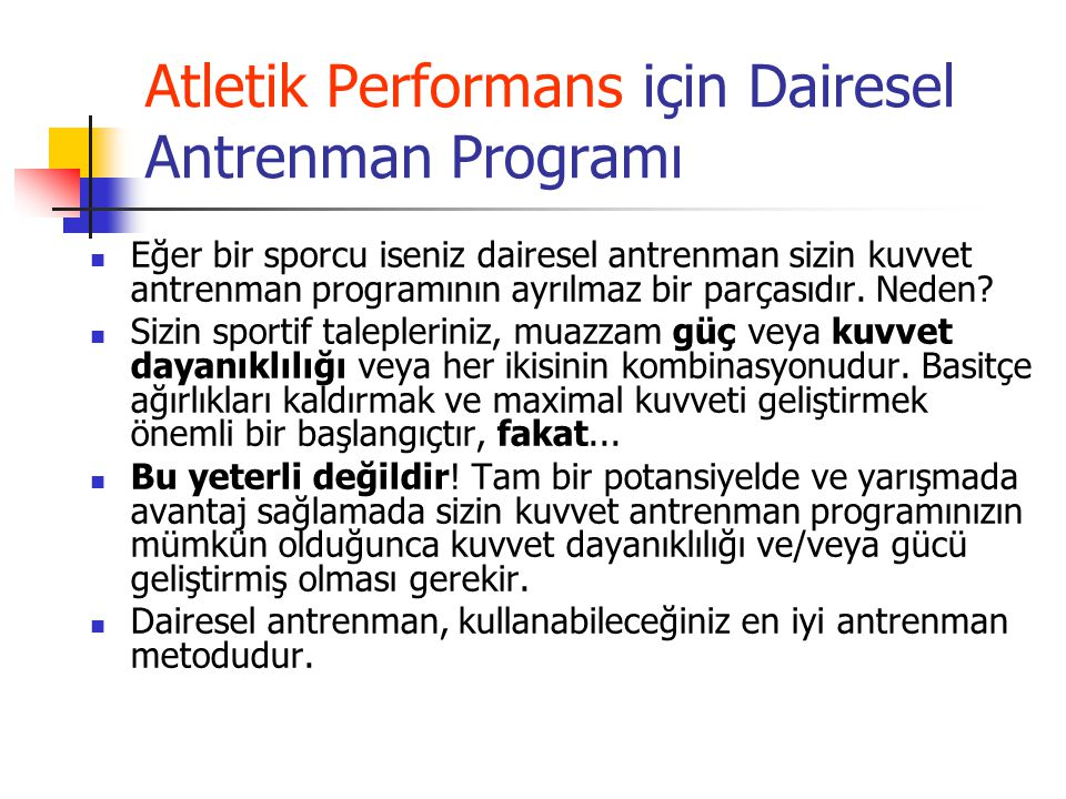 Atletik Performans için Dairesel Antrenman Programı