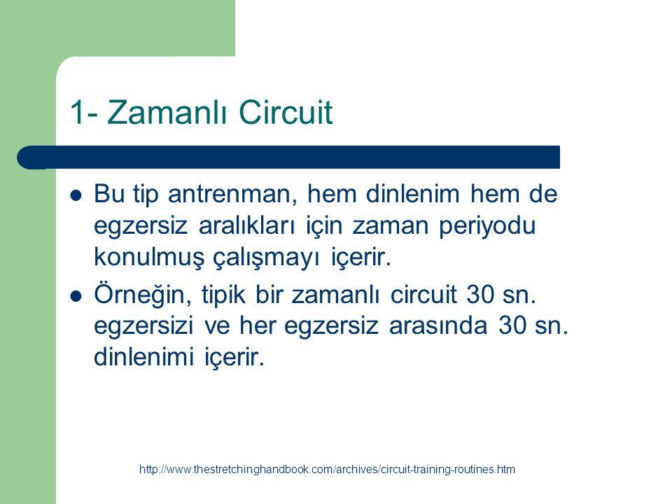 1- Zamanlı Circuit Bu tip antrenman, hem dinlenim hem de egzersiz aralıkları için zaman periyodu konulmuş çalışmayı içerir.