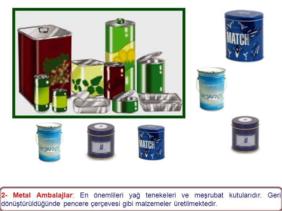 2- Metal Ambalajlar: En önemlileri yağ tenekeleri ve meşrubat kutularıdır.