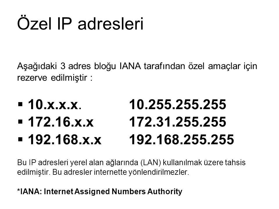 Özel IP adresleri 10.x.x.x. 10.255.255.255 172.16.x.x 172.31.255.255
