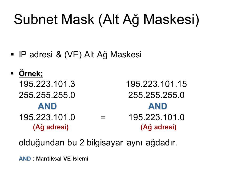 Subnet Mask (Alt Ağ Maskesi)