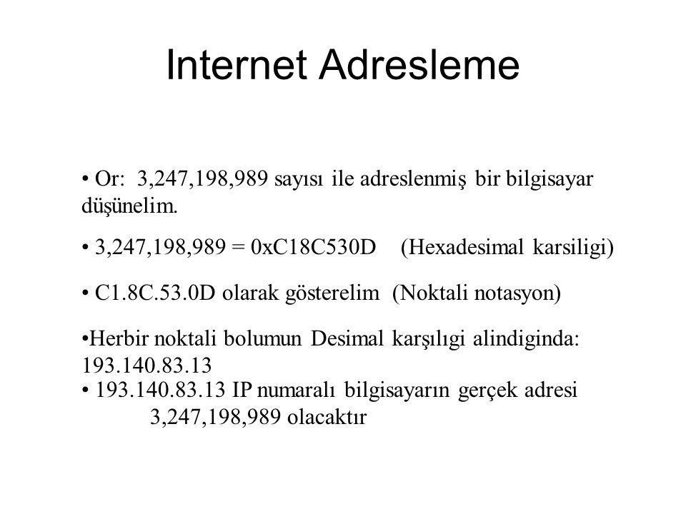 Internet Adresleme Or: 3,247,198,989 sayısı ile adreslenmiş bir bilgisayar düşünelim. 3,247,198,989 = 0xC18C530D (Hexadesimal karsiligi)