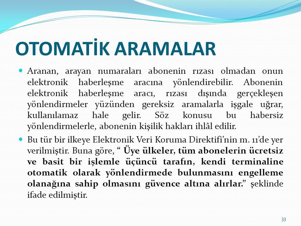 OTOMATİK ARAMALAR