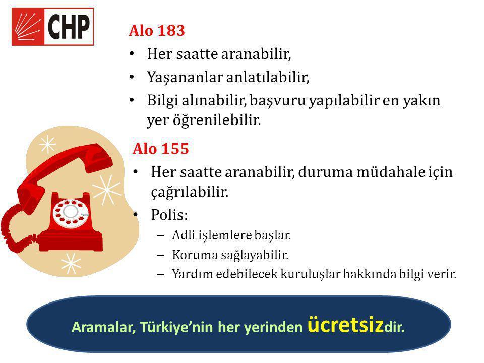 Aramalar, Türkiye'nin her yerinden ücretsizdir.