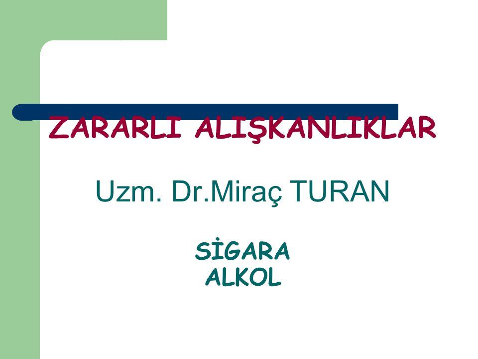 ZARARLI ALIŞKANLIKLAR Uzm. Dr.Miraç TURAN SİGARA ALKOL