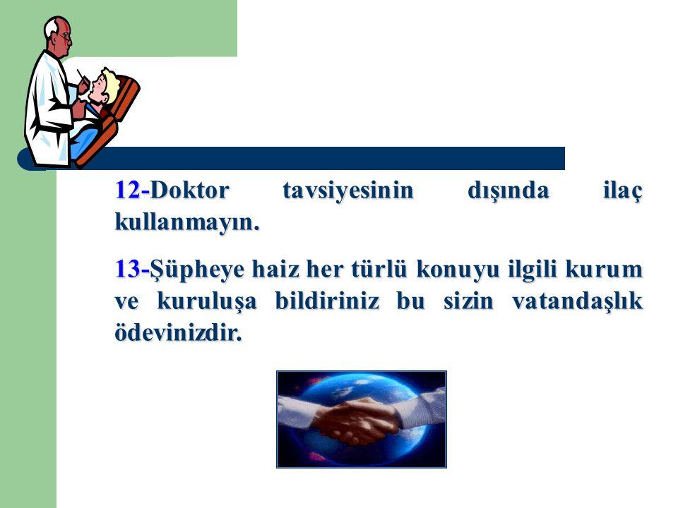 12-Doktor tavsiyesinin dışında ilaç kullanmayın.