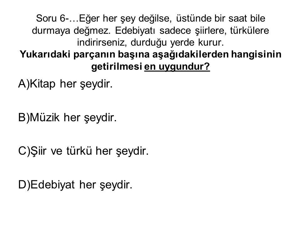 C)Şiir ve türkü her şeydir. D)Edebiyat her şeydir.