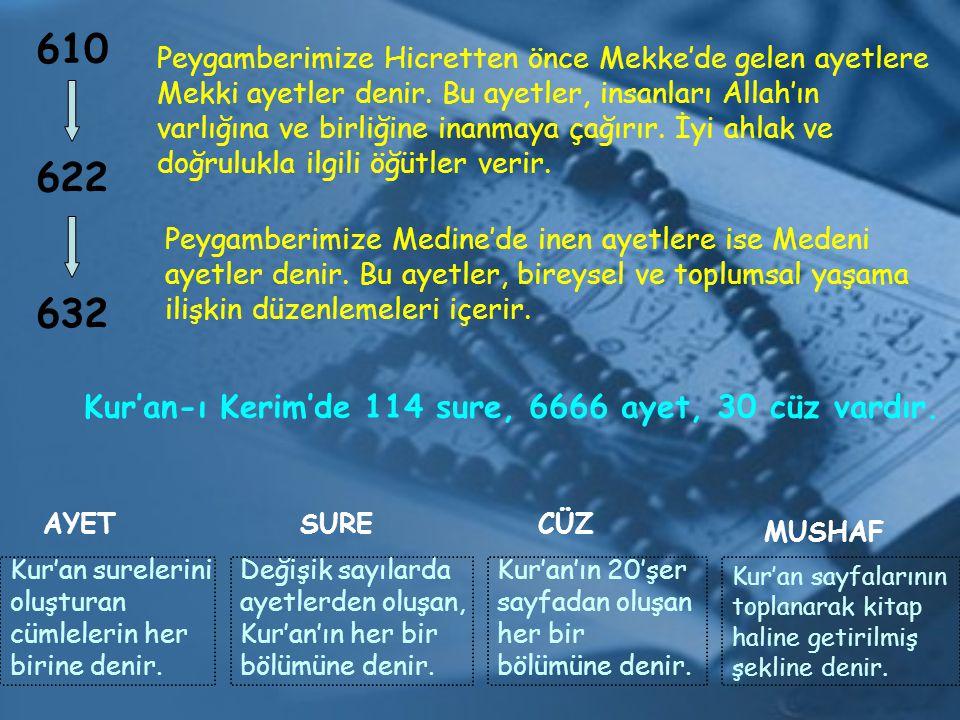 Kur'an-ı Kerim'de 114 sure, 6666 ayet, 30 cüz vardır.