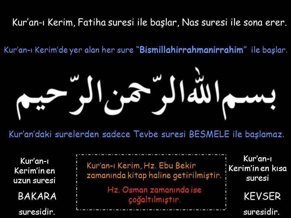 Kur'an-ı Kerim, Fatiha suresi ile başlar, Nas suresi ile sona erer.