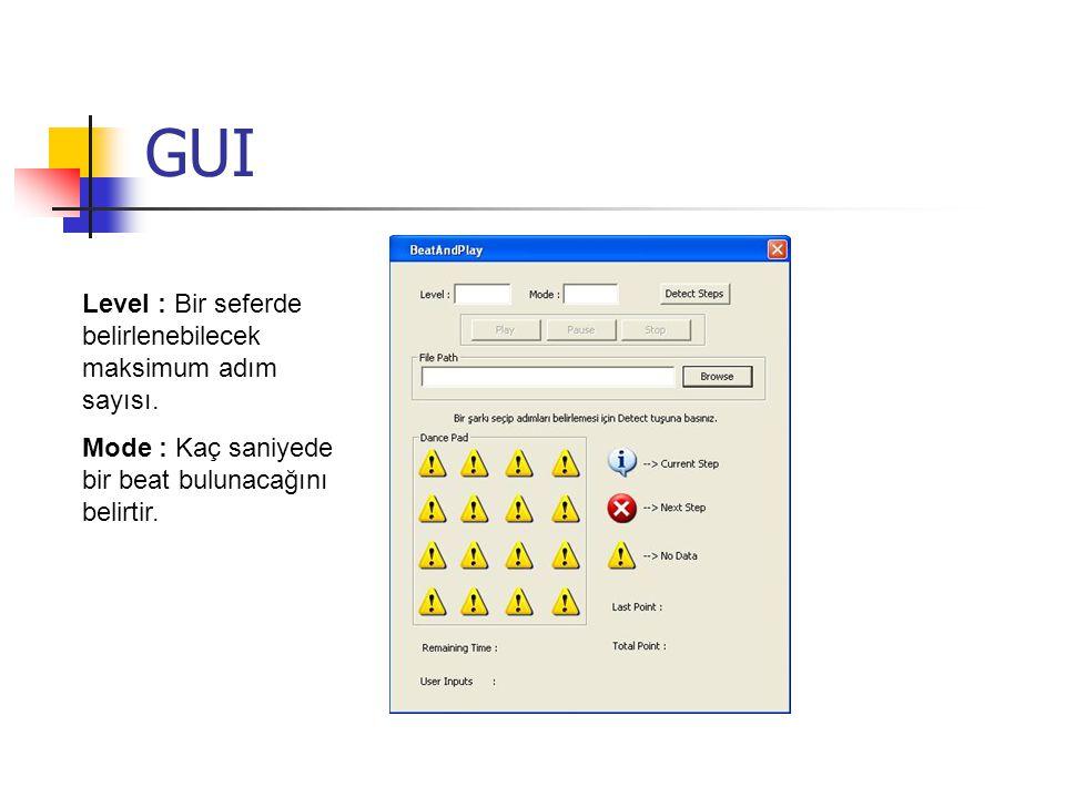 GUI Level : Bir seferde belirlenebilecek maksimum adım sayısı.