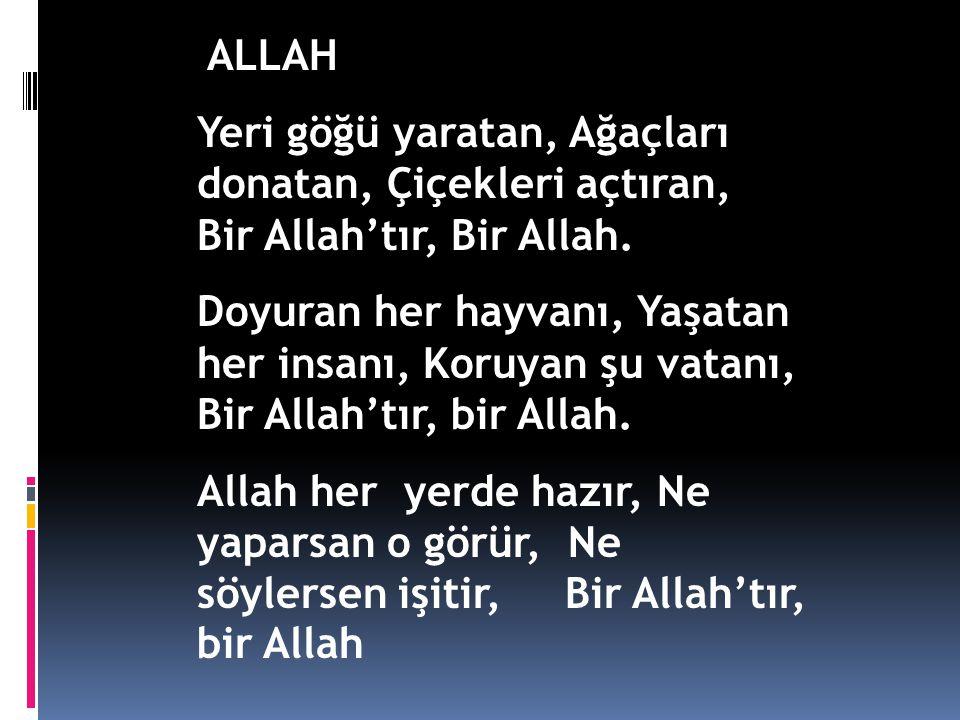 ALLAH Yeri göğü yaratan, Ağaçları donatan, Çiçekleri açtıran, Bir Allah'tır, Bir Allah.