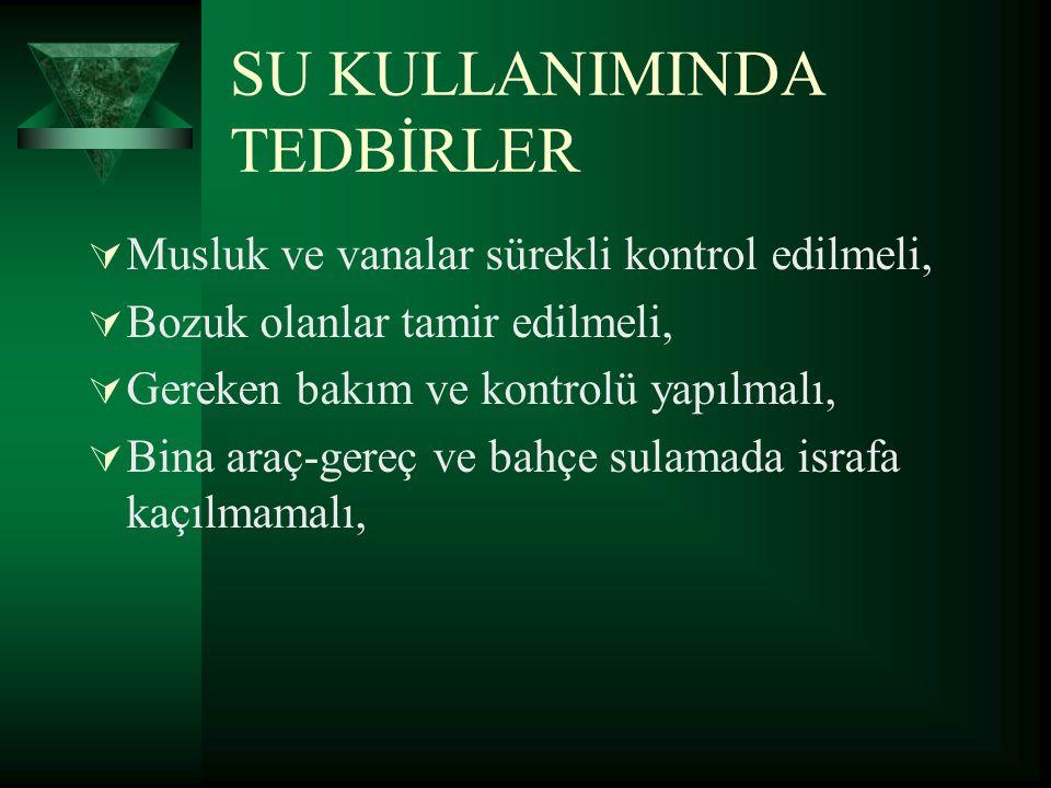 SU KULLANIMINDA TEDBİRLER
