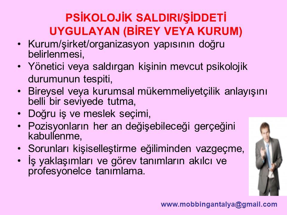PSİKOLOJİK SALDIRI/ŞİDDETİ UYGULAYAN (BİREY VEYA KURUM)
