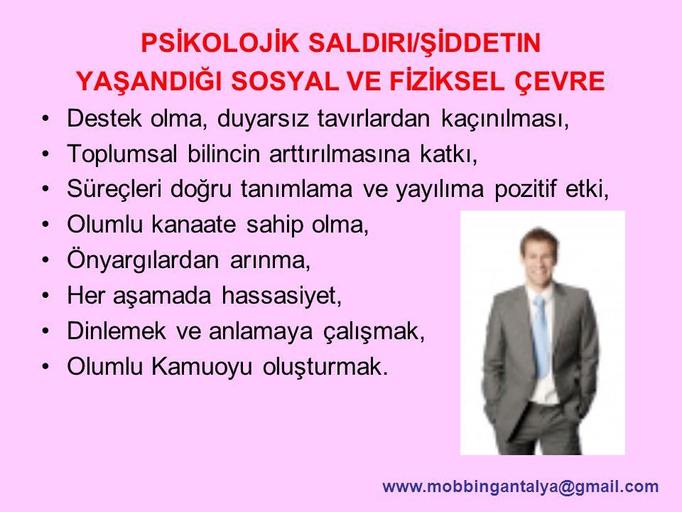 PSİKOLOJİK SALDIRI/ŞİDDETIN YAŞANDIĞI SOSYAL VE FİZİKSEL ÇEVRE