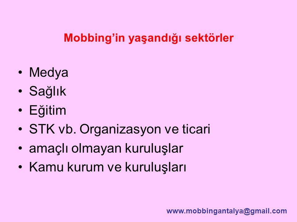 Mobbing'in yaşandığı sektörler