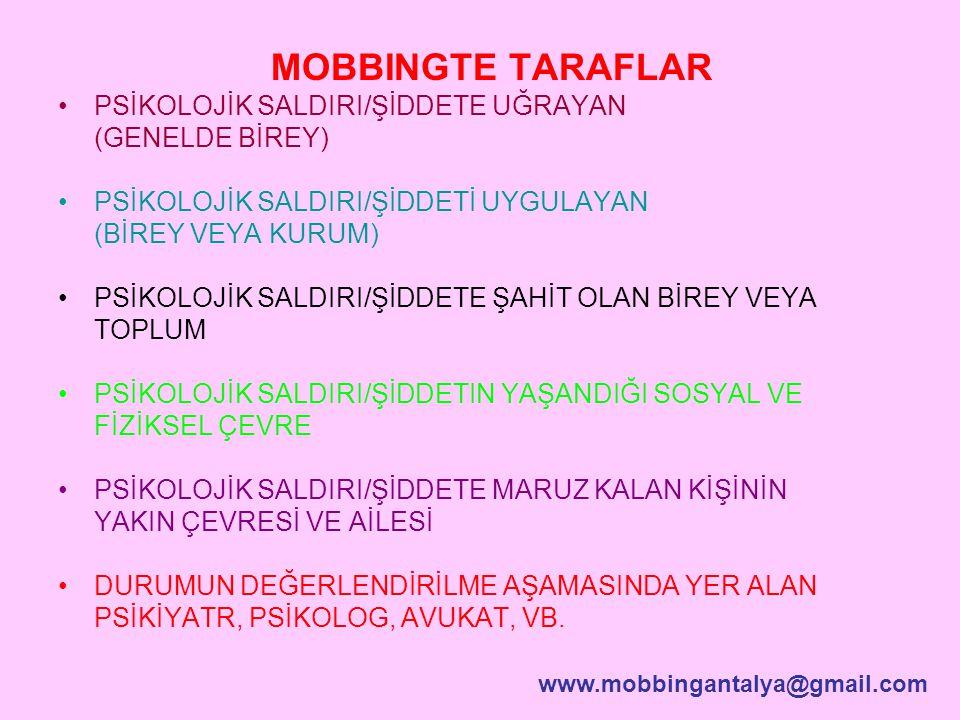 MOBBINGTE TARAFLAR PSİKOLOJİK SALDIRI/ŞİDDETE UĞRAYAN (GENELDE BİREY)