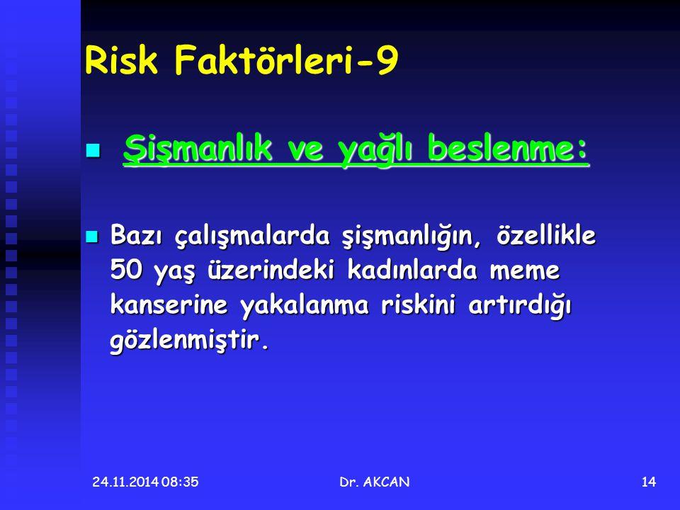Risk Faktörleri-9 Şişmanlık ve yağlı beslenme: