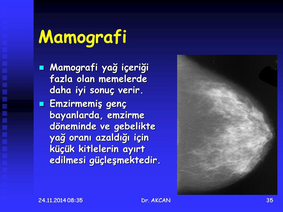 Mamografi Mamografi yağ içeriği fazla olan memelerde daha iyi sonuç verir.