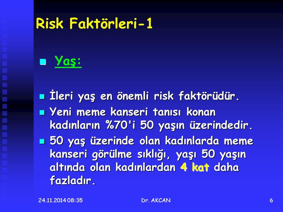 Risk Faktörleri-1 Yaş: İleri yaş en önemli risk faktörüdür.