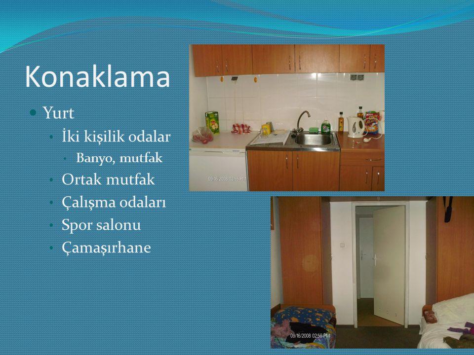 Konaklama Yurt İki kişilik odalar Ortak mutfak Çalışma odaları