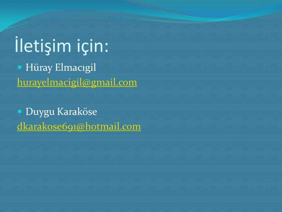 İletişim için: Hüray Elmacıgil hurayelmacigil@gmail.com Duygu Karaköse