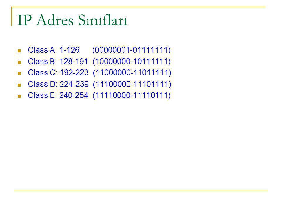 IP Adres Sınıfları Class A: 1-126 (00000001-01111111)