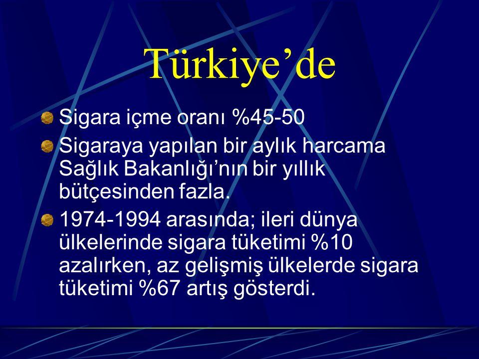 Türkiye'de Sigara içme oranı %45-50