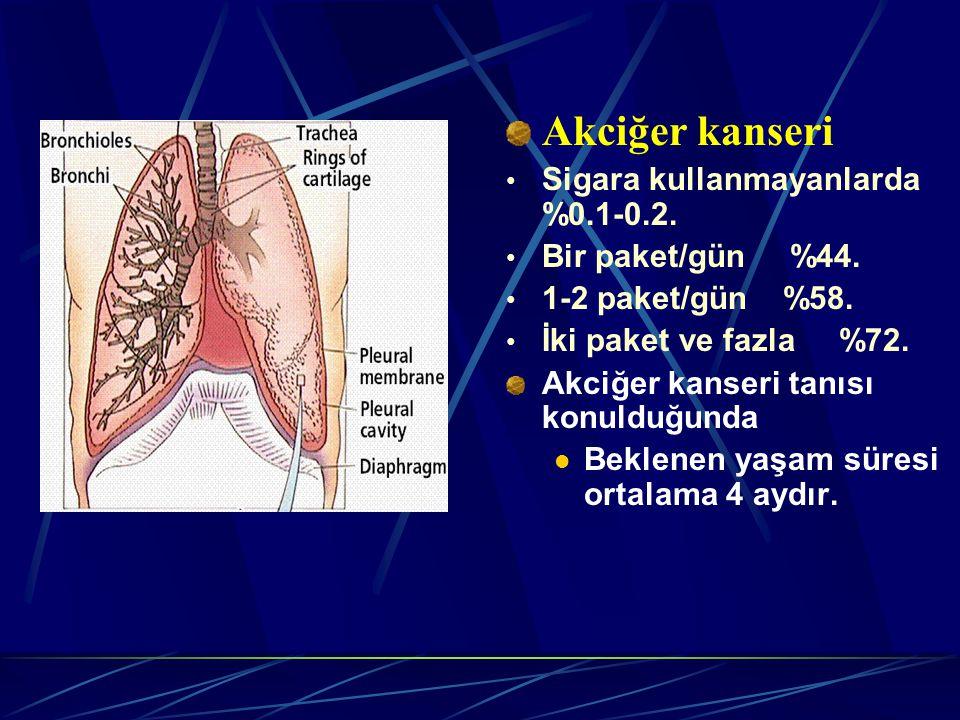 Akciğer kanseri Sigara kullanmayanlarda %0.1-0.2. Bir paket/gün %44.