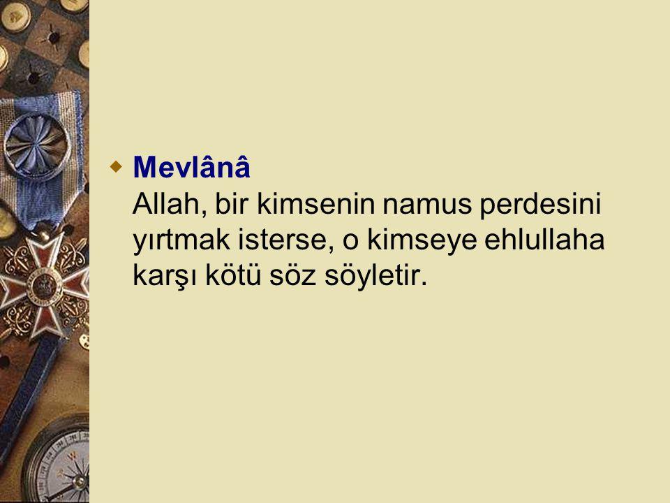 Mevlânâ Allah, bir kimsenin namus perdesini yırtmak isterse, o kimseye ehlullaha karşı kötü söz söyletir.