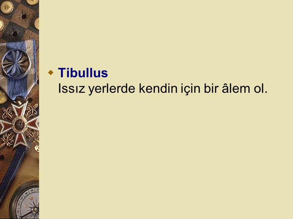 Tibullus Issız yerlerde kendin için bir âlem ol.
