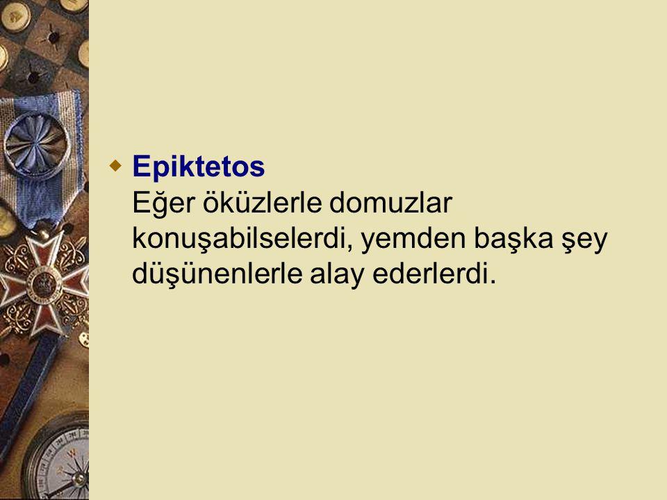 Epiktetos Eğer öküzlerle domuzlar konuşabilselerdi, yemden başka şey düşünenlerle alay ederlerdi.