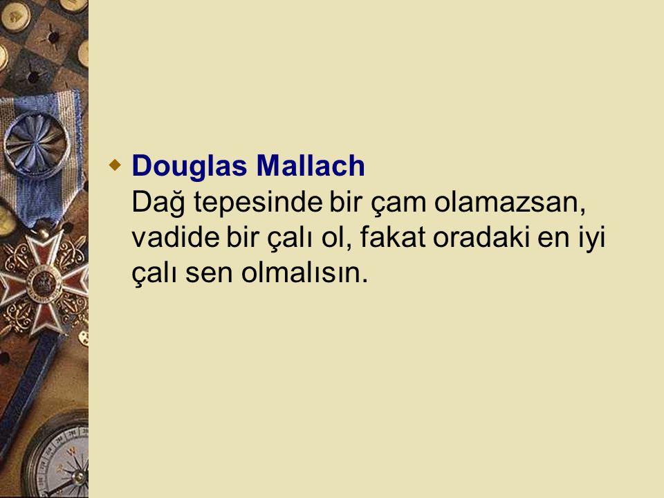 Douglas Mallach Dağ tepesinde bir çam olamazsan, vadide bir çalı ol, fakat oradaki en iyi çalı sen olmalısın.