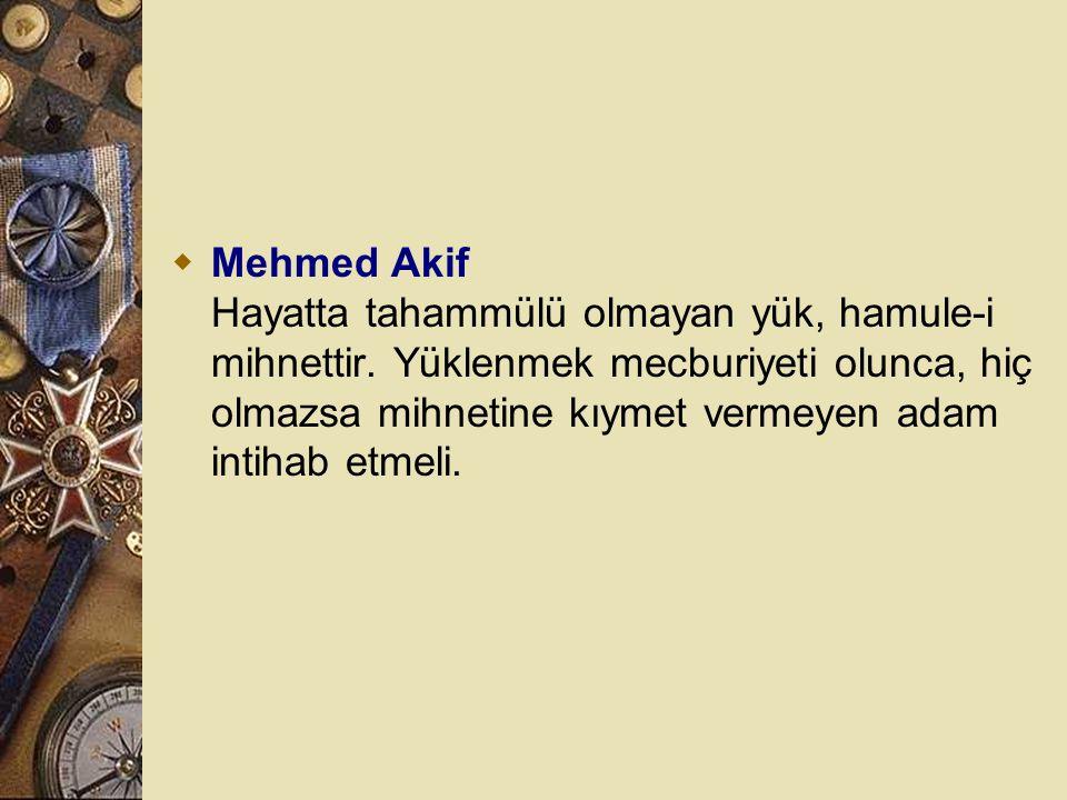 Mehmed Akif Hayatta tahammülü olmayan yük, hamule-i mihnettir