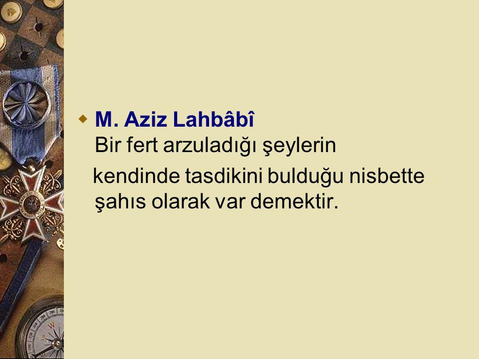 M. Aziz Lahbâbî Bir fert arzuladığı şeylerin