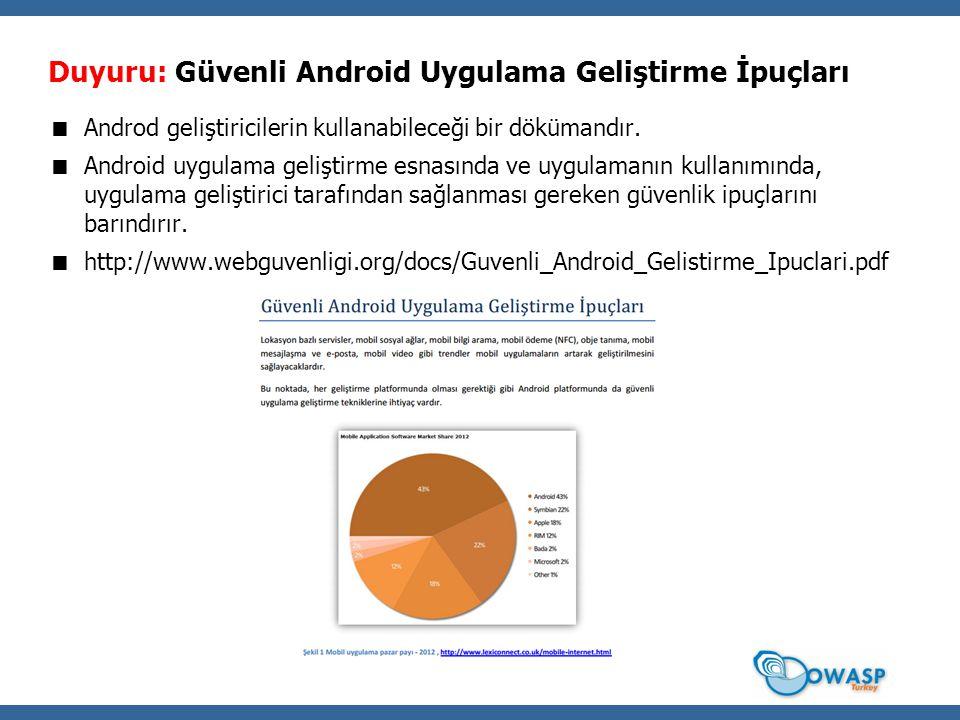 Duyuru: Güvenli Android Uygulama Geliştirme İpuçları
