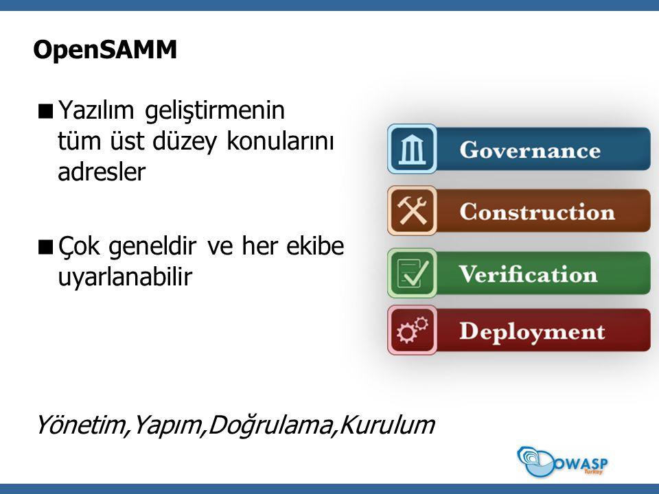 OpenSAMM Yazılım geliştirmenin tüm üst düzey konularını adresler. Çok geneldir ve her ekibe uyarlanabilir.