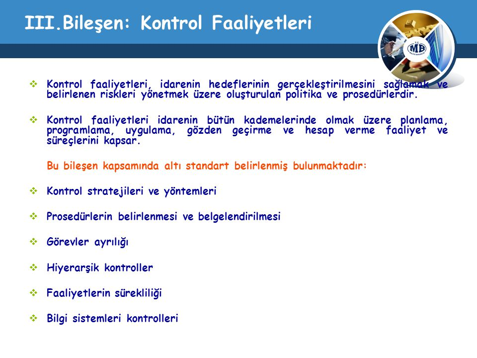 III.Bileşen: Kontrol Faaliyetleri