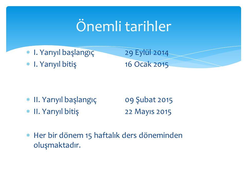 Önemli tarihler I. Yarıyıl başlangıç 29 Eylül 2014