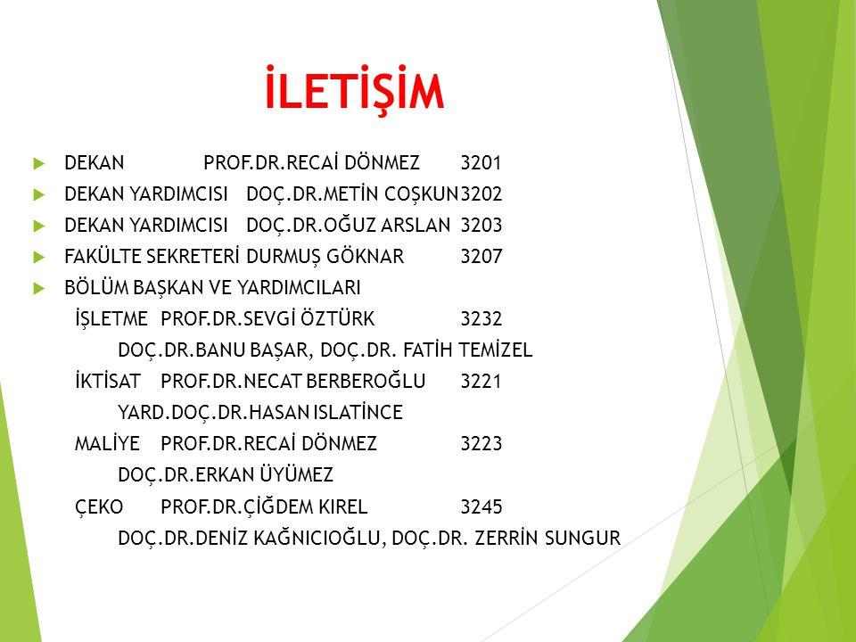 İLETİŞİM DEKAN PROF.DR.RECAİ DÖNMEZ 3201