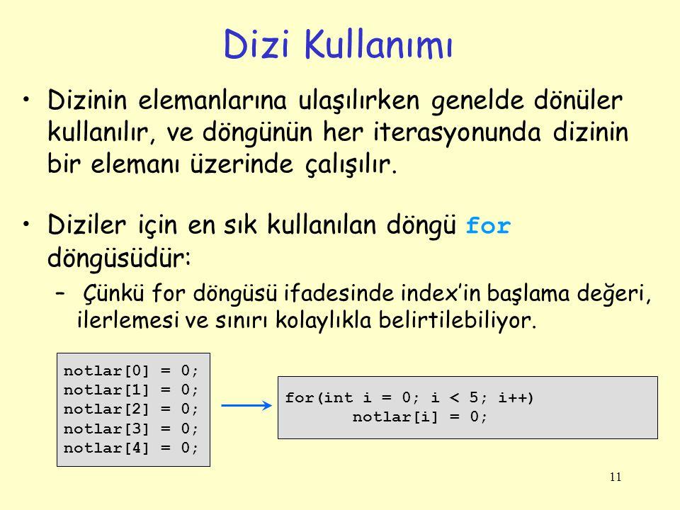 Dizi Kullanımı Dizinin elemanlarına ulaşılırken genelde dönüler kullanılır, ve döngünün her iterasyonunda dizinin bir elemanı üzerinde çalışılır.