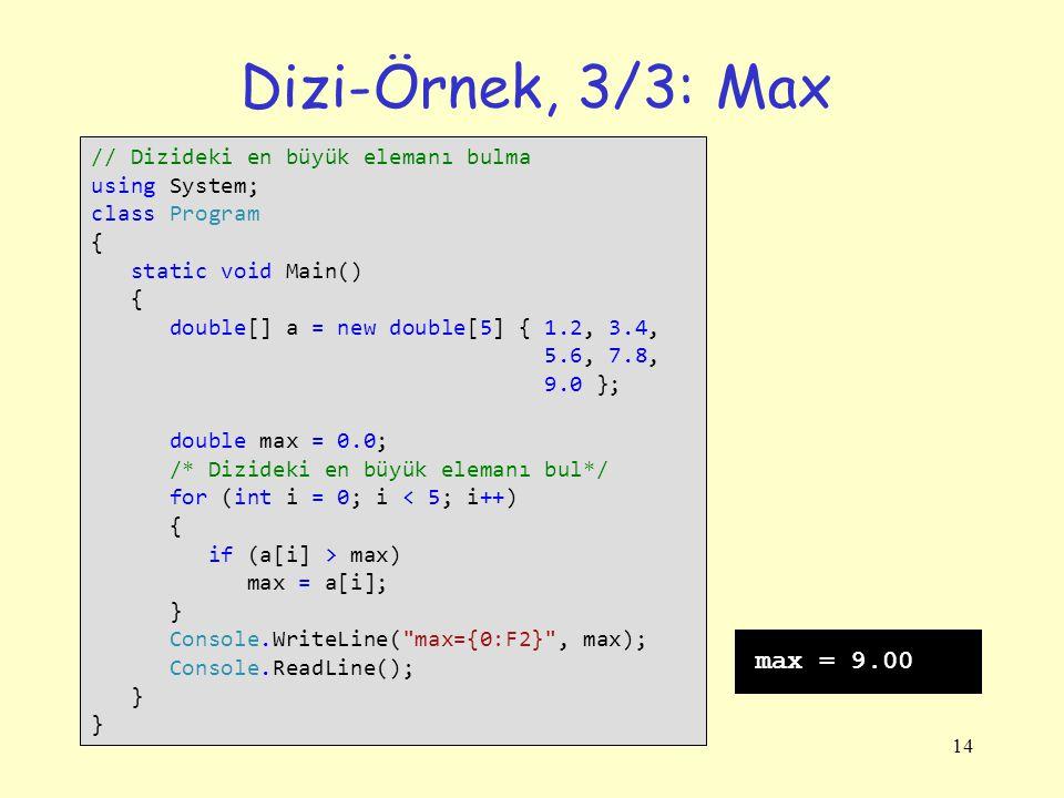Dizi-Örnek, 3/3: Max max = 9.00 // Dizideki en büyük elemanı bulma