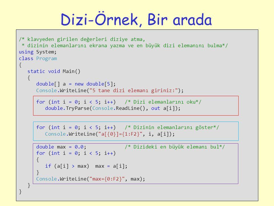 Dizi-Örnek, Bir arada /* klavyeden girilen değerleri diziye atma,