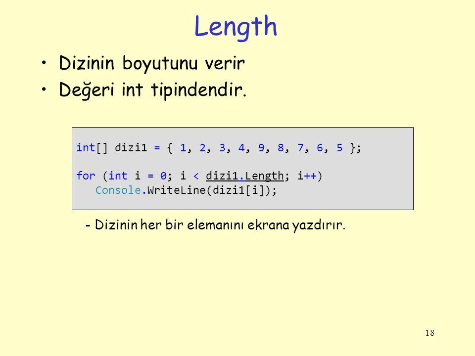 Length Dizinin boyutunu verir Değeri int tipindendir.