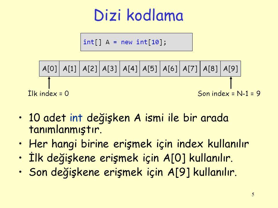 Dizi kodlama 10 adet int değişken A ismi ile bir arada tanımlanmıştır.