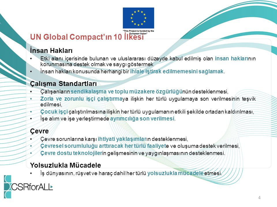 UN Global Compact'ın 10 İlkesi