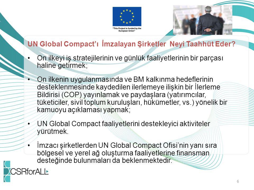UN Global Compact'ı İmzalayan Şirketler Neyi Taahhüt Eder