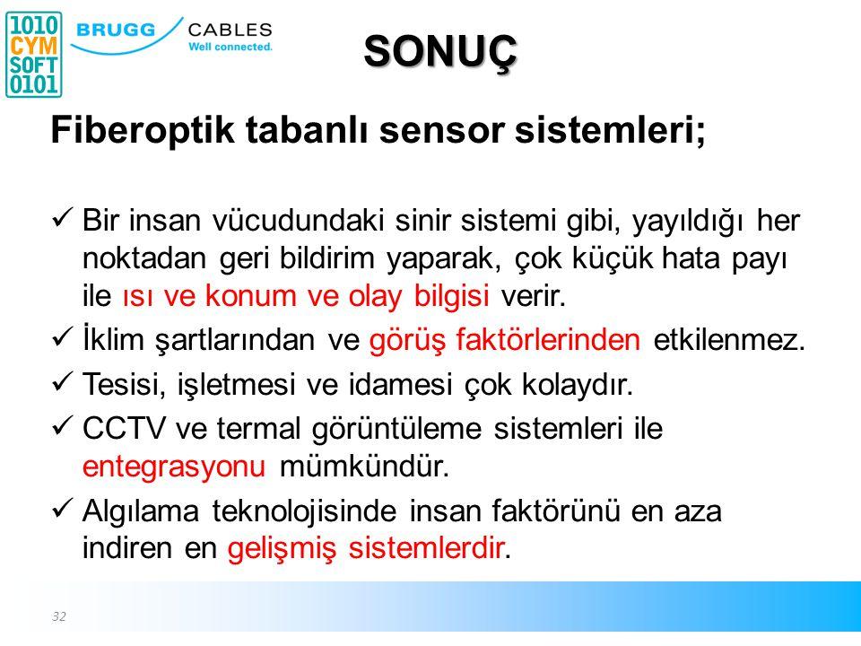 SONUÇ Fiberoptik tabanlı sensor sistemleri;