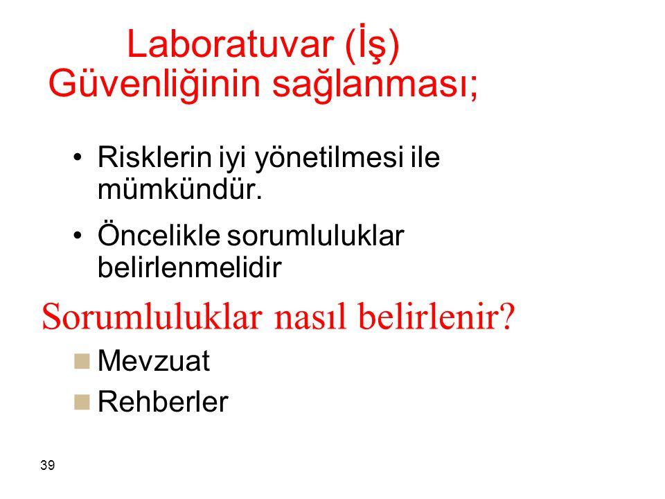 Laboratuvar (İş) Güvenliğinin sağlanması;
