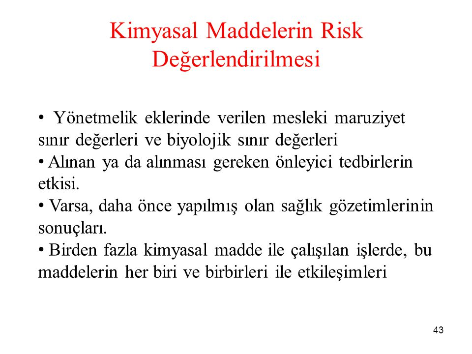 Kimyasal Maddelerin Risk Değerlendirilmesi