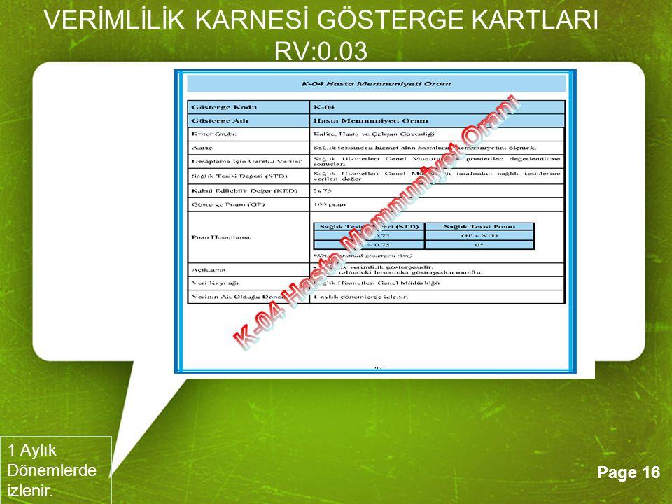 VERİMLİLİK KARNESİ GÖSTERGE KARTLARI RV:0.03